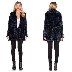 Free People Swingy Faux Fur Coat in Slate Grey, 12